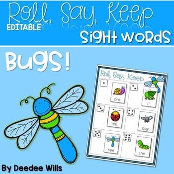 BUGS! Sight Words Roll, Say, Keep-Editable 1