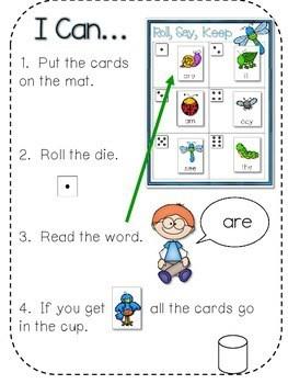 BUGS! Sight Words Roll, Say, Keep-Editable 2
