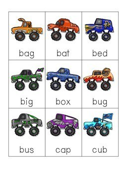 CVC word game: Monster Truck and Flat Tire CVC Game 3