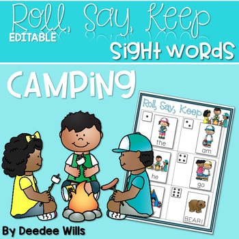 Camping Sight Words Roll, Say, Keep-Editable 1