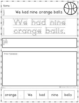 Color and Number Words: Sentence Writing 3