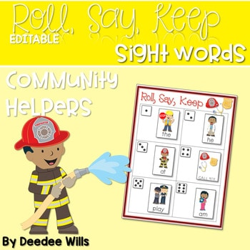 Community Helpers ABC and Sight Word Roll, Say, Keep ~ Editable 1