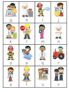 Community Helpers ABC and Sight Word Roll, Say, Keep ~ Editable 4