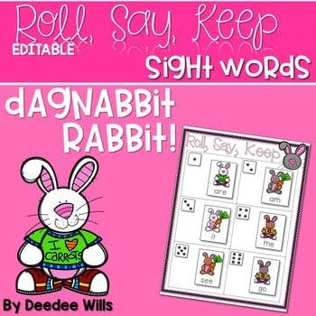 Dagnabbit Rabbit Sight Word Roll, Say, Keep-Editable 1