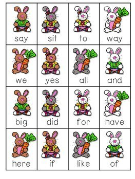 Dagnabbit Rabbit Sight Word Roll, Say, Keep-Editable 3