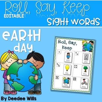 Earth Day ABC and Sight Words Roll, Say, Keep ~ Editable 1