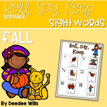 Fall Roll, Say, Keep-Editable Sight Word and ABC Game 1