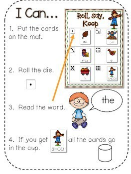 Fall Roll, Say, Keep-Editable Sight Word and ABC Game 2