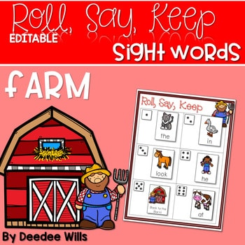Farm ABC and Sight Word Roll, Say, Keep ~ Editable 1