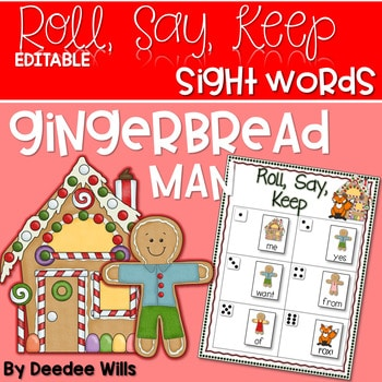 Gingerbread Man Sight Word and ABC Roll, Say, Keep-Editable 1