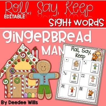 Gingerbread Man Sight Word and ABC Roll, Say, Keep-Editable 1