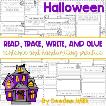Halloween Read, Trace, Glue, and Draw 1