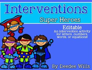 Intervention: ELA or Math Superheroes EDITABLE 1
