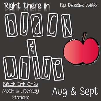 Kindergarten Centers: Black ink ONLY for August & September 1