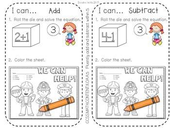 Kindergarten Math Centers ~ Community Helpers 3