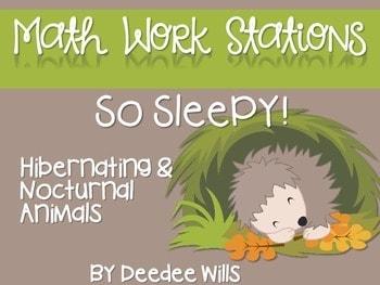 Kindergarten Math Centers ~ Nocturnal & Hibernating Animals 1