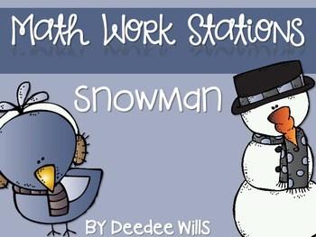 Kindergarten Math Centers ~ Snowman CCSS 1