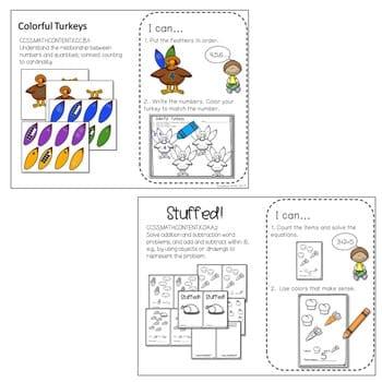 Kindergarten Math Centers ~ Thanksgiving 3