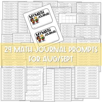 Kindergarten Math Journal Prompts   AUG/SEPT 2