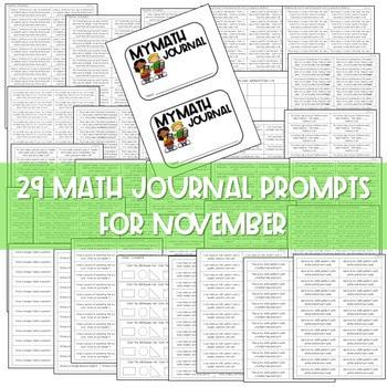 Kindergarten Math Journal Prompts | NOVEMBER 2