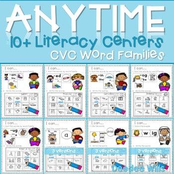 Literacy Centers: CVC Word Families 1