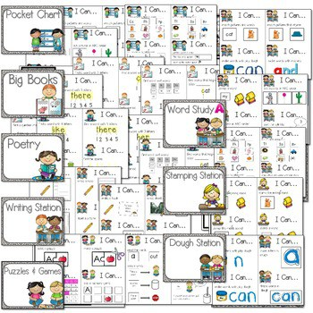 """Literacy Station """"I Can"""" Task Cards 2"""