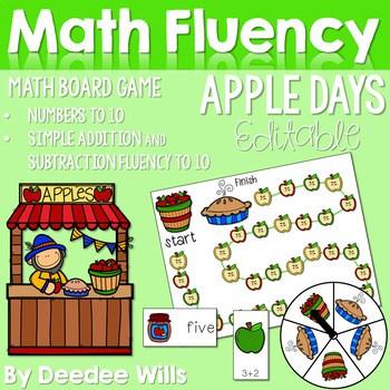 Math Fluency: Apple Days Editable 1