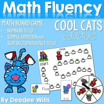 Math Fluency: Cool School Cats Editable 1
