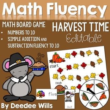 Math Fluency: Harvest Time Editable 1