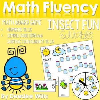 Math Fluency: Insect Fun! Editable 1