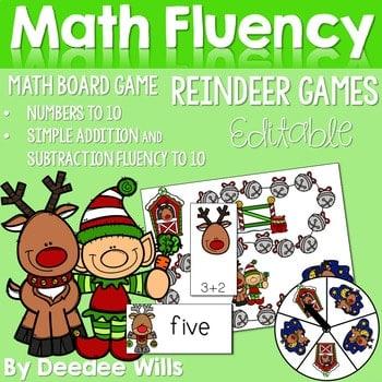Math Fluency: Reindeer Games Editable 1