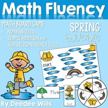 Math Fluency: Spring Editable 1