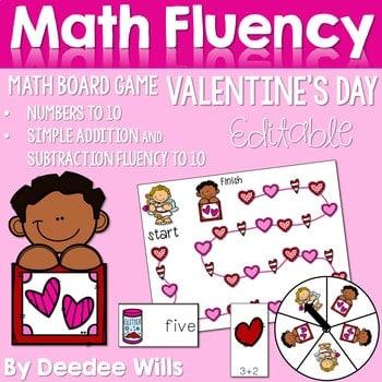 Math Fluency: Valentine's Day Editable 1