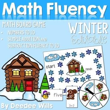 Math Fluency: Winter Editable 1