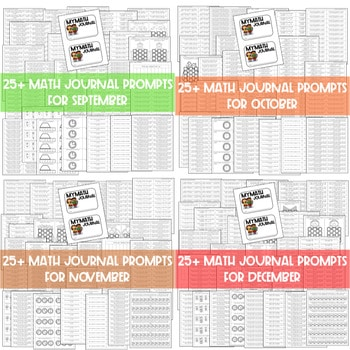 Math Journal Prompts for First-Grade   BUNDLE 3