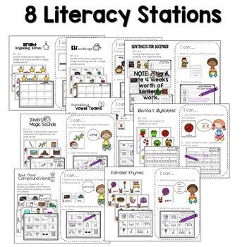 Math and Literacy Center Activities 1st Grade Growing BUNDLE 2