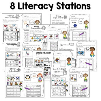 Math and Literacy Center Activities 1st Grade Growing BUNDLE 3