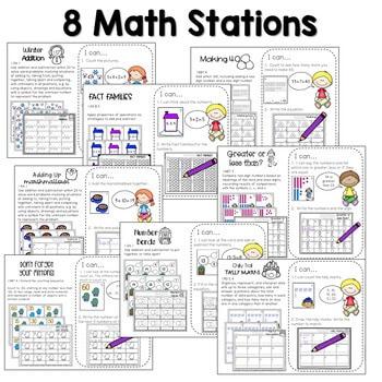Math and Literacy Center Activities 1st Grade Growing BUNDLE 4