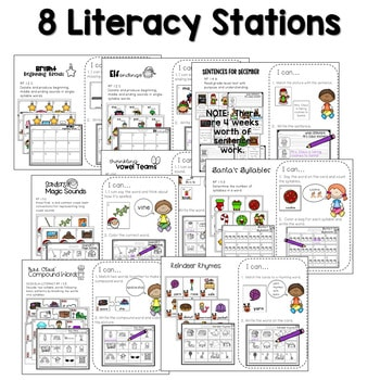 Math and Literacy Center Activities-First Grade December 2