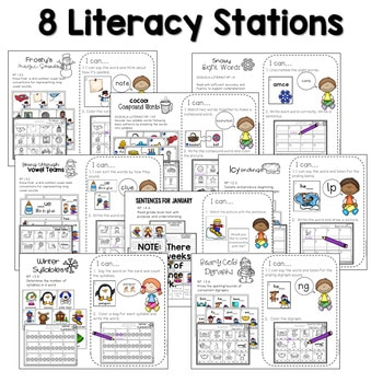 Math And Literacy Center Activities First Grade January