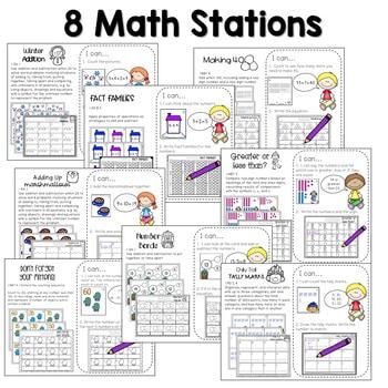Math and Literacy Center Activities-First Grade January 3
