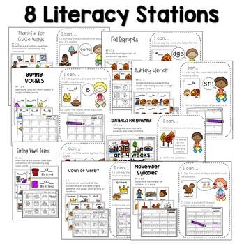 Math and Literacy Center Activities-First Grade November 2