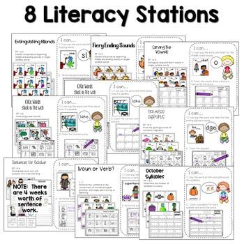 Math and Literacy Center Activities-First Grade October 2