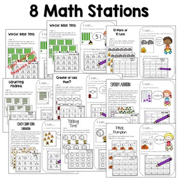 Math and Literacy Center Activities-First Grade October 3