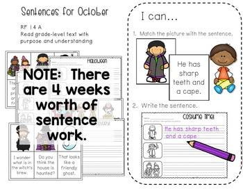 Math and Literacy Center Activities-First Grade October 4