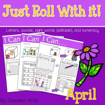 Math and Literacy Center: Just Roll With It: April editable 1