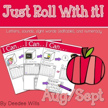 Math and Literacy Center: Just Roll With It: August/September-editable 1