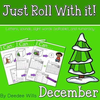 Math and Literacy Center: Just Roll With It: December-editable 1