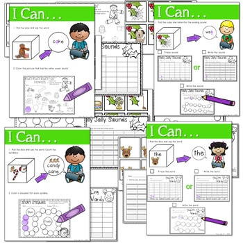 Math and Literacy Center: Just Roll With It: December-editable 2