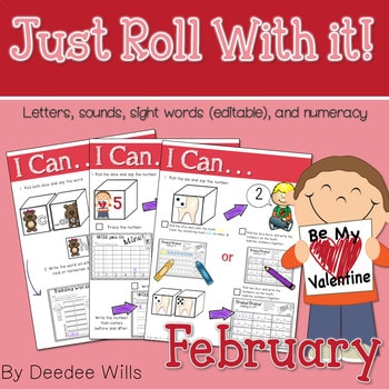 Math and Literacy Center: Just Roll With It: February-editable 1